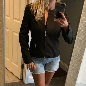 Adrienne Vittadini Brown Full Zip Moto Jacket